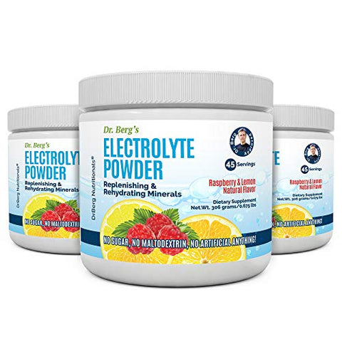 Dr. Berg's Original Electrolyte Powder - Hydration Drink Mix Supplement w/ 13x Pottasium - Boost Energy & Keto Friendly - NO Maltodextrin Sugar & Carb Free - Raspberry Lemon Flavor 45 Servings 3 Pack
