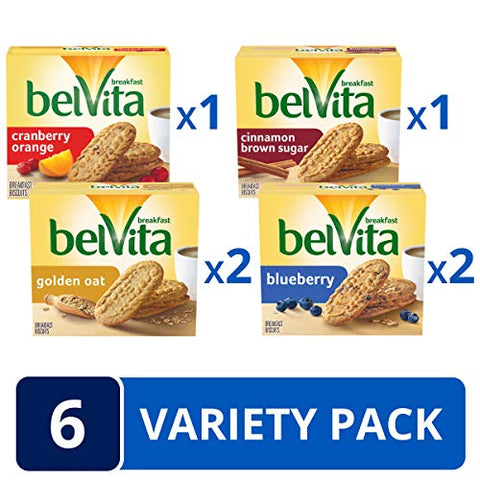 belVita Breakfast Biscuits Variety Pack, 4 Flavors, 6 Boxes of 5 Packs (4 Biscuits Per Pack), Basic, 8.8 Ounce (Pack of 6)