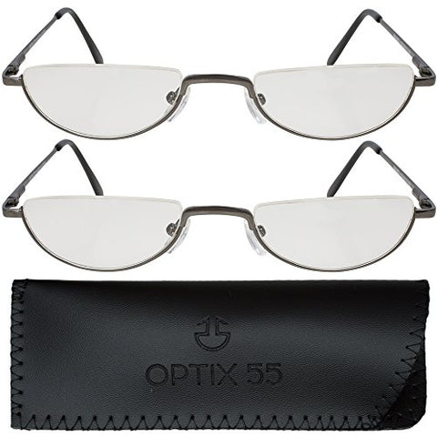 Reading Glasses Men - Half Frame Readers - Pack of 2 Mens Reading Glasses - Fashion Men's Readers with Pouch - Comfortable Gunmetal Frame with Rubber Tip Temples - By Optix 55 (Gunmetal Grey, 150.00)