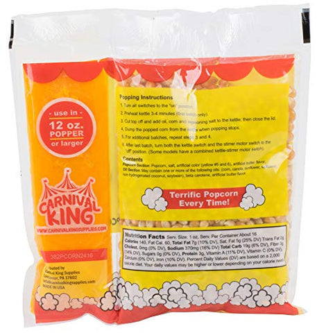 TableTop King All-In-One Popcorn Kit for 12 oz. to 14 oz. Popper - 24/Case