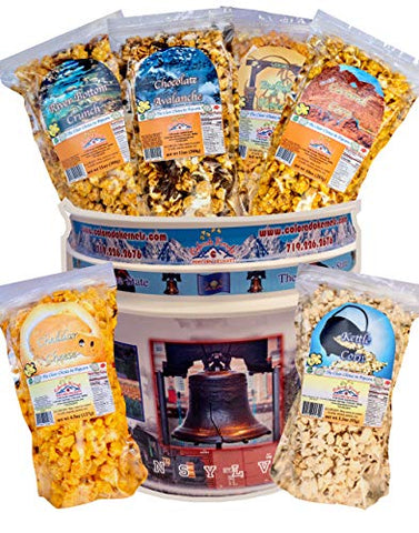 Popcorn by Colorado Kernels Popcorn Delights | CELEBRATE PENNSYLVANIA KEYSTONE STATE 3.5 Gal Bucket with 6 lg resealable bags | Kettle Corn, Cheddar, Caramel, Chocolate, Almonds/Pecans, Buffalo Ranch