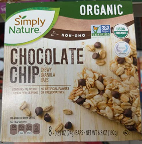 Simply Nature Organic Chocolate Chip Chewy Granola Bars 6.8oz(0.8oz x 8bars), Pack of 1