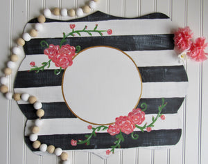 Rectangle Frame with Shabby Stripes & Flowers