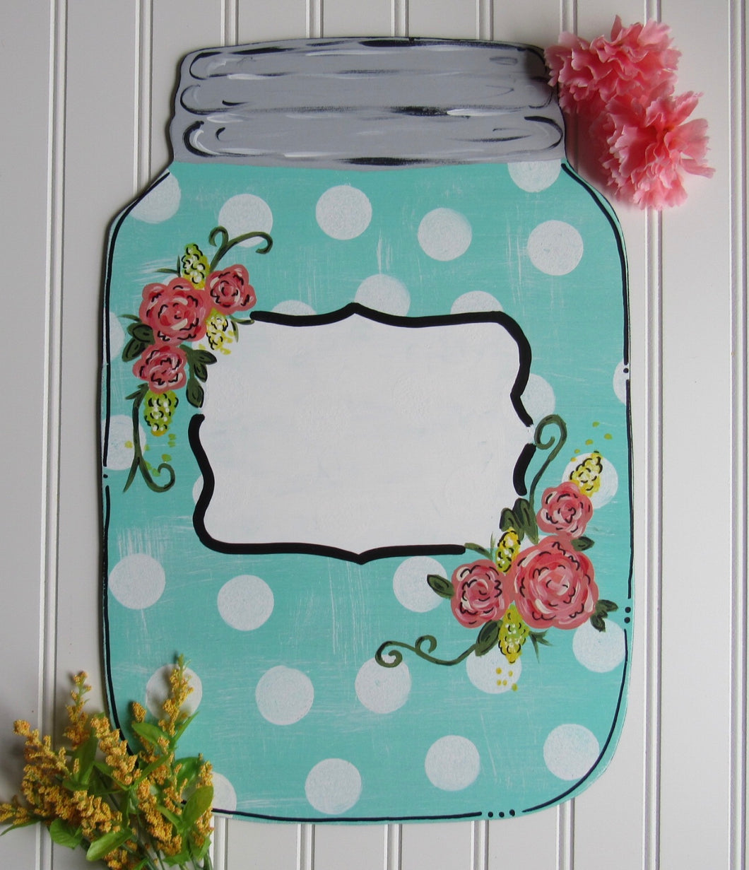 Mason Jar with Shabby Polka Dots