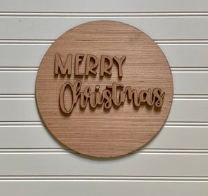 3D Merry Christmas Wooden Blank