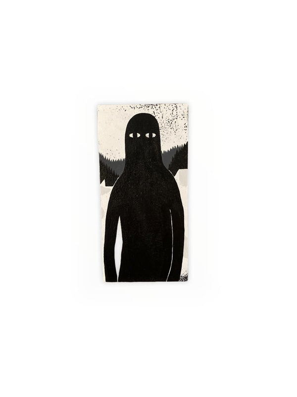 BLACK MONSTER PAINTING ON WOOD BLOCK BY LY