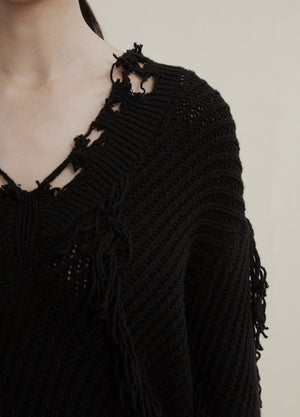 Load image into Gallery viewer, cable-knit distressed jumper