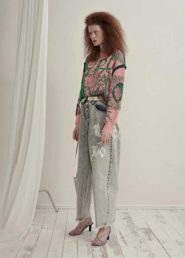 Load image into Gallery viewer, Embroidered cropped jeans