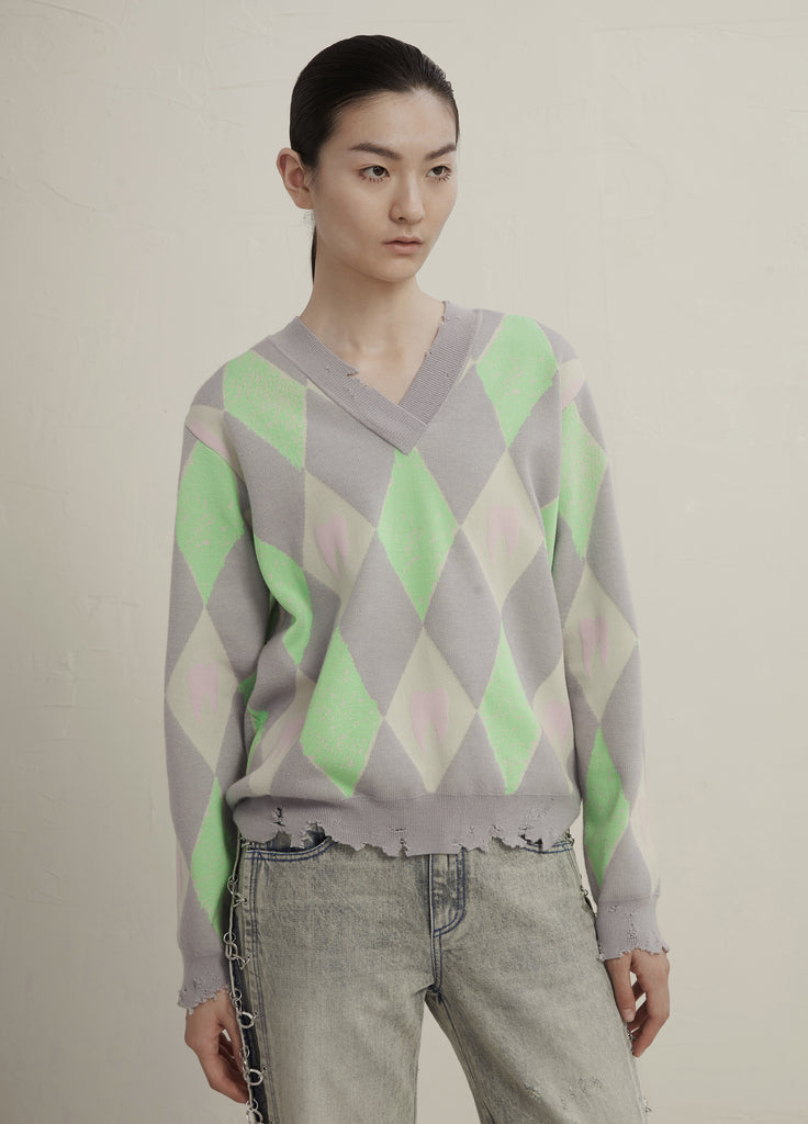Rhombus printed sweater