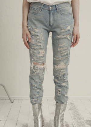 Load image into Gallery viewer, Ripped denim jeans