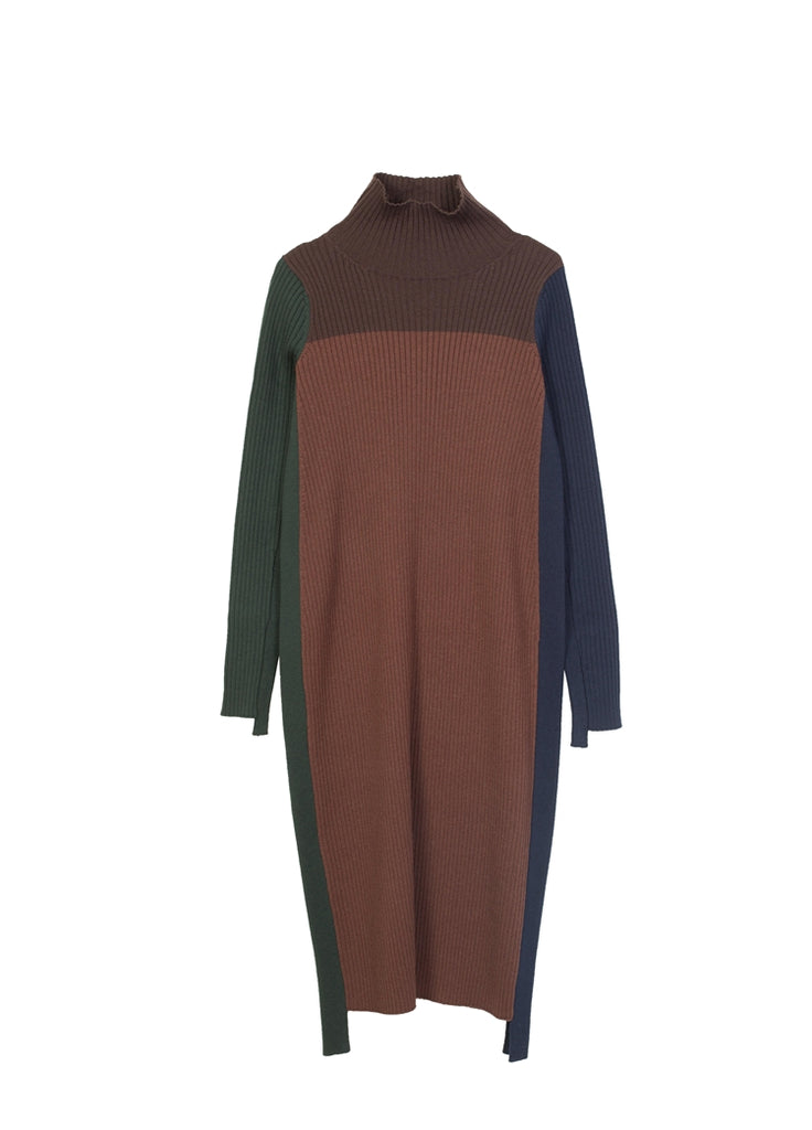 Color Block Stitching Long Sweater Dress