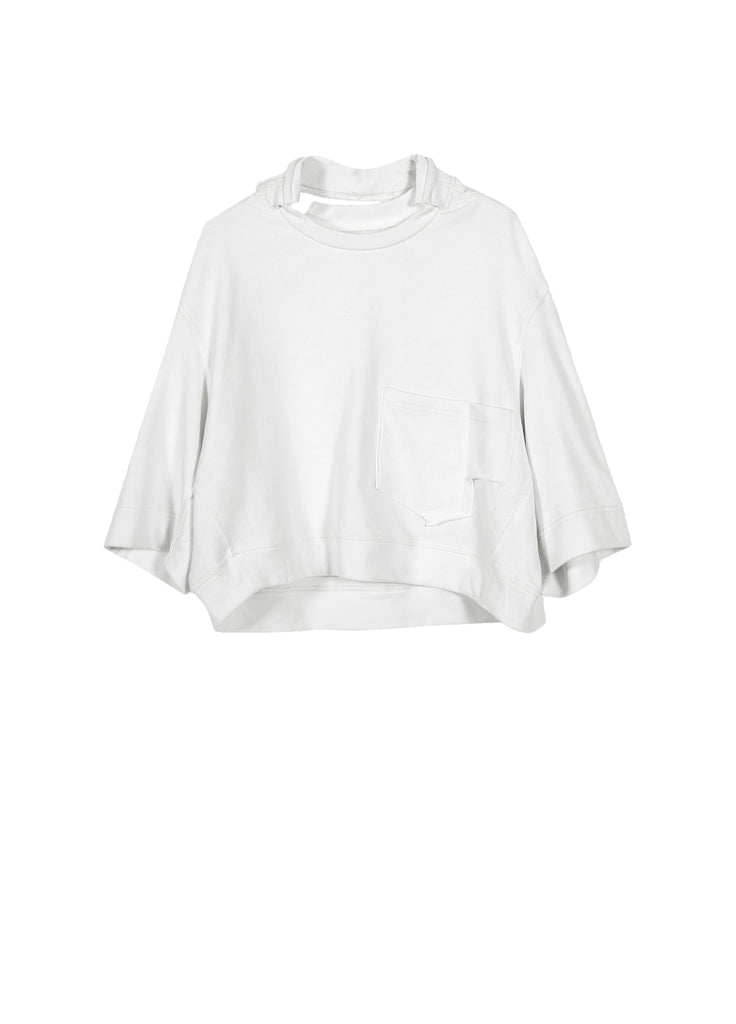 Split-collar solid color sweater