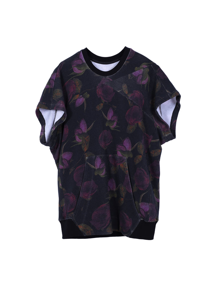 Round-neck Floral Pattern T-shirt