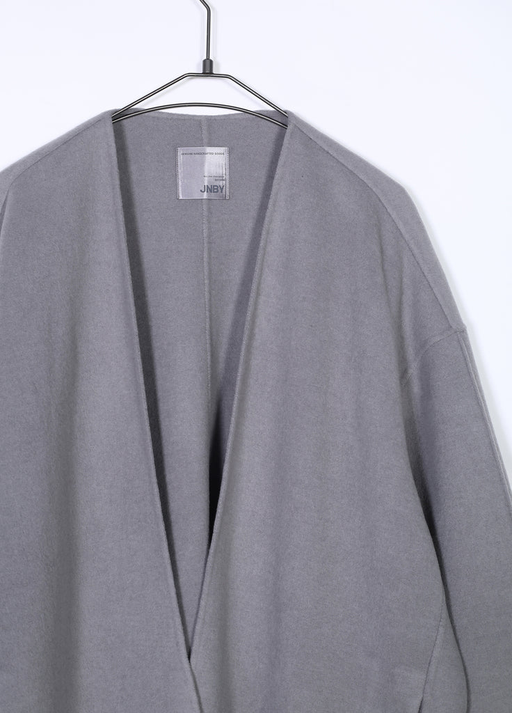 V-Neck Buttonless Wool Coat