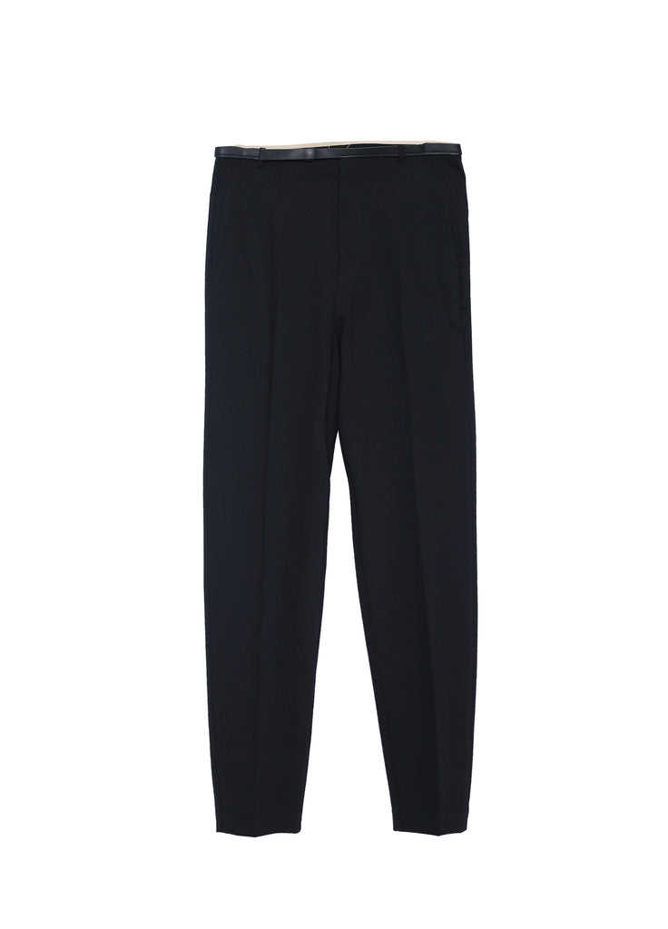 Wool Pants With Leather Waist Design