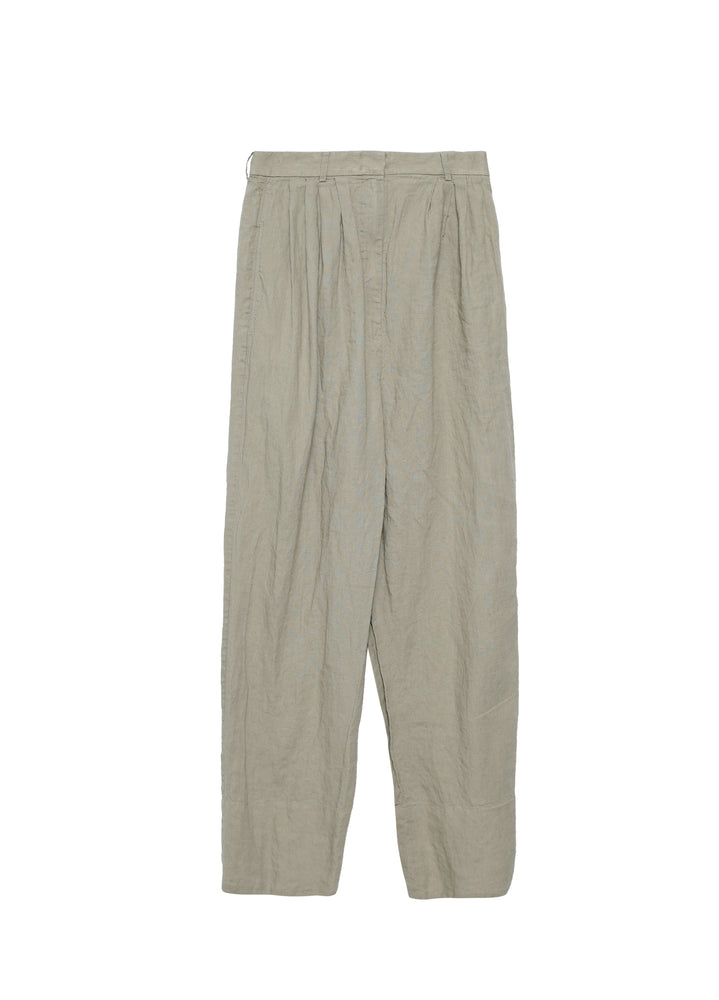 Linen pants with pleats on top part