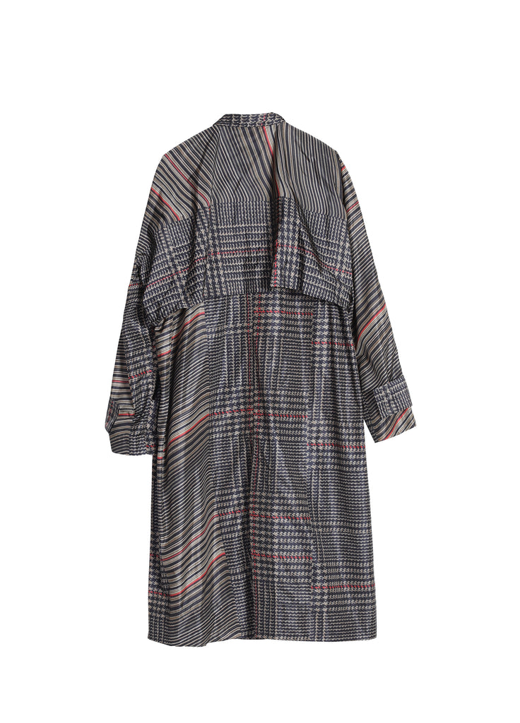 Long Stylish Beige black stripes Trench Coat