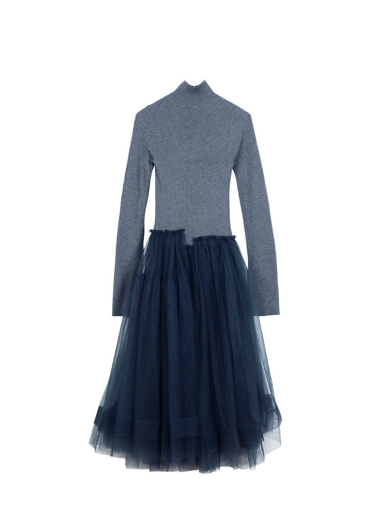 Sweater and Veil Skirt Stitched Dress