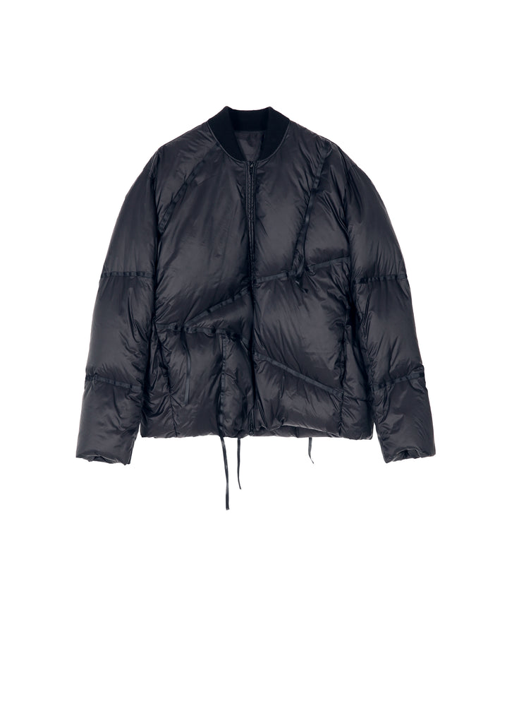 Irregular Webbing Design Short Down Jacket