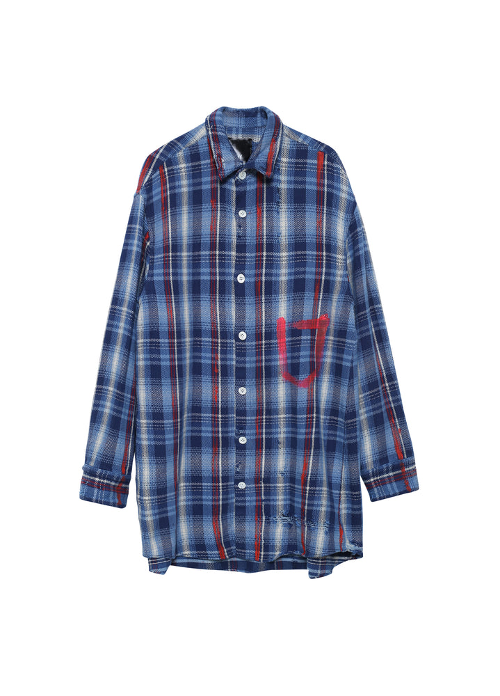 Indigo retro check shirt