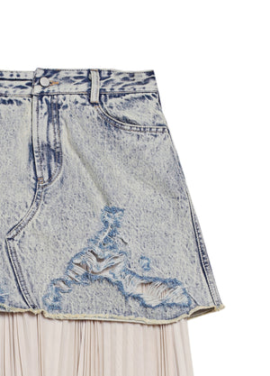 Load image into Gallery viewer, Stitched denim skirt