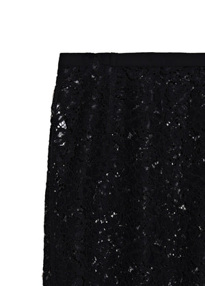 Load image into Gallery viewer, Fluted lace midi skirt