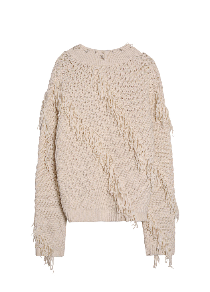 cable-knit distressed jumper