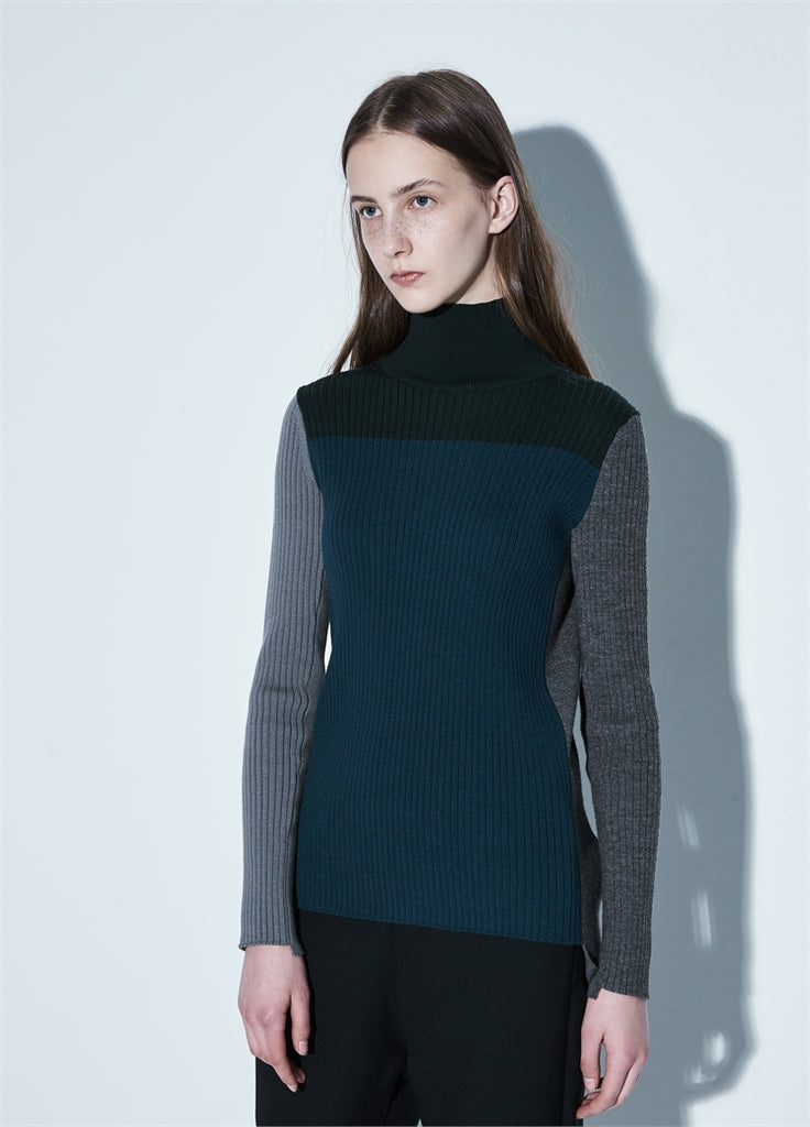 Color Block Stitching Sweater
