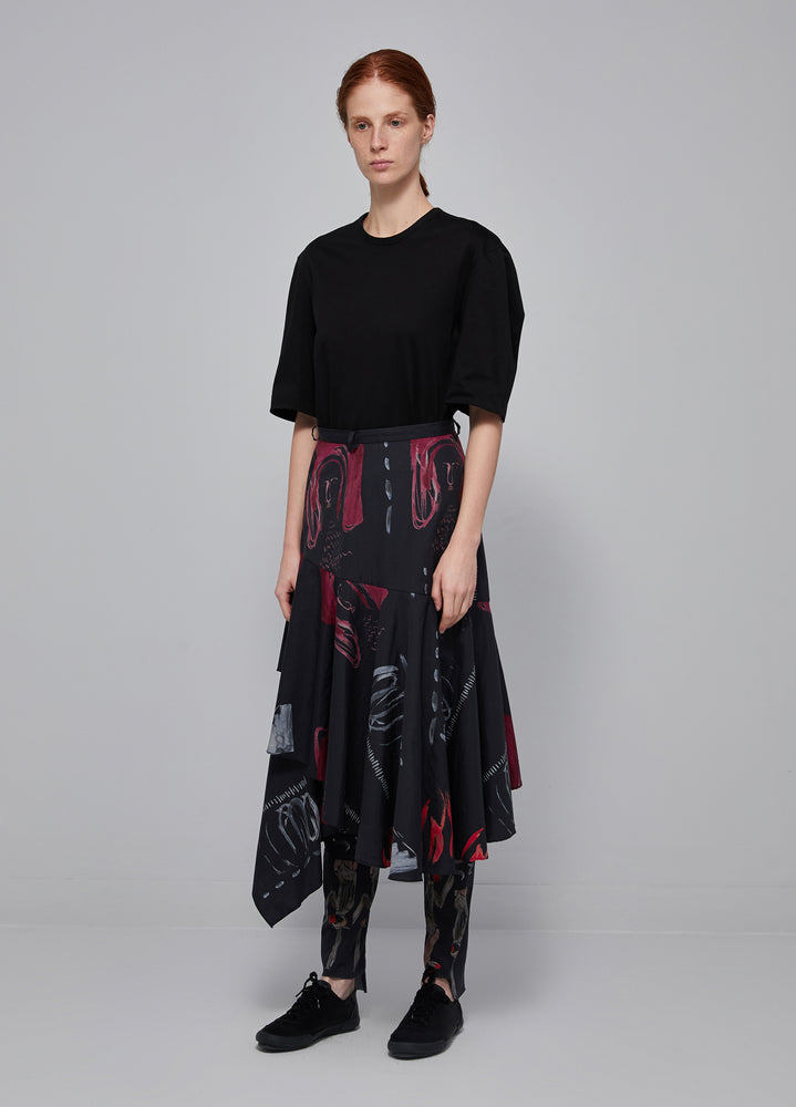 Load image into Gallery viewer, Asymmetric printed midi skirt