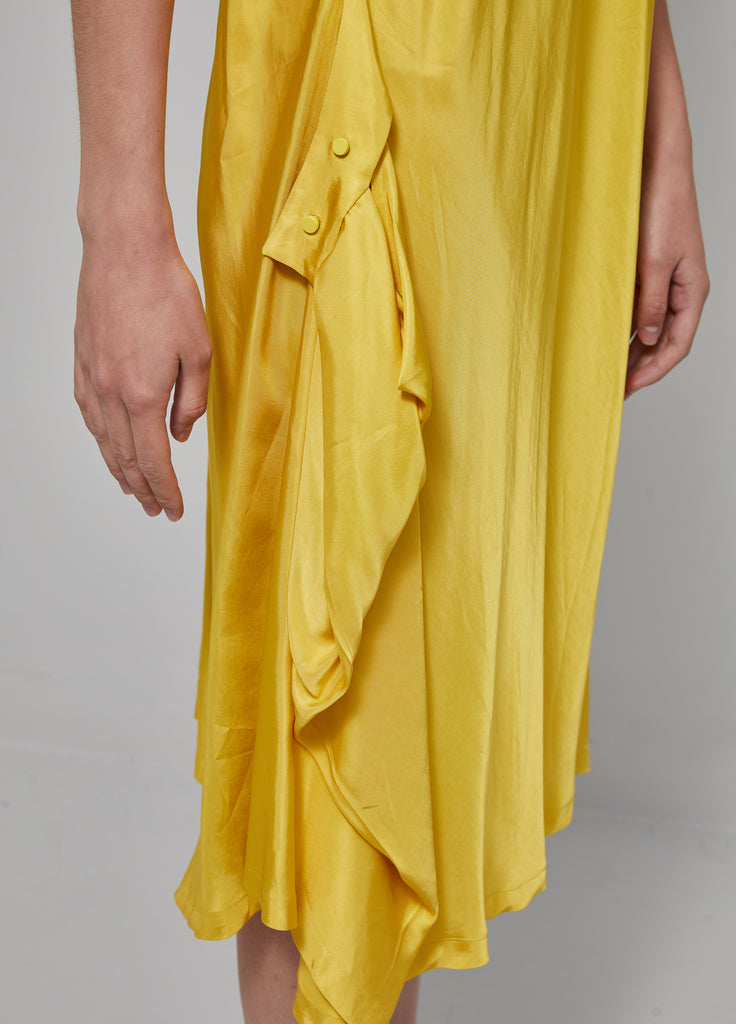 Solid color back tied long dress