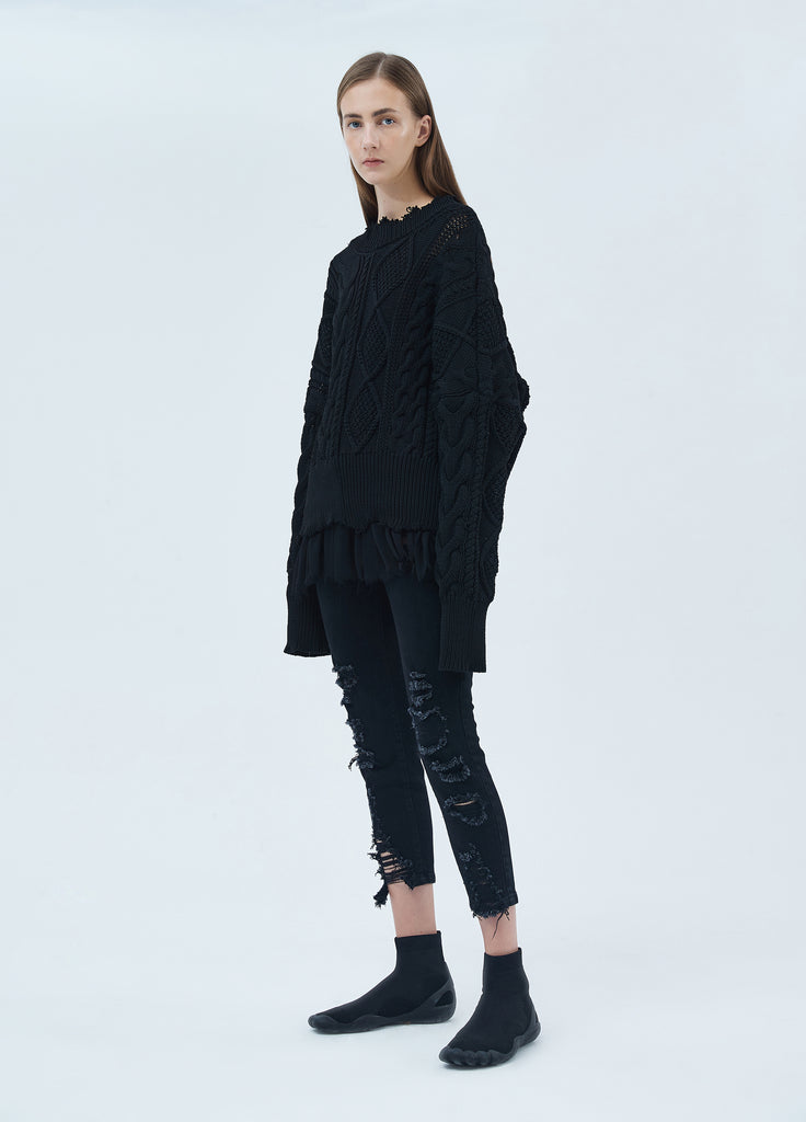 Oversized sweater with silk panel