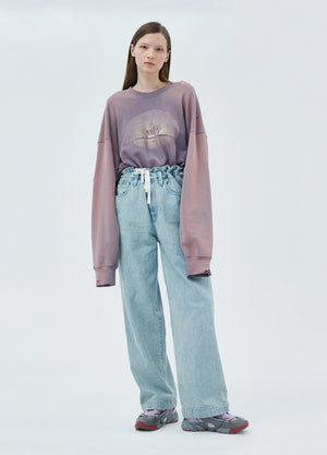 Load image into Gallery viewer, Drawstring Wide Leg Jeans