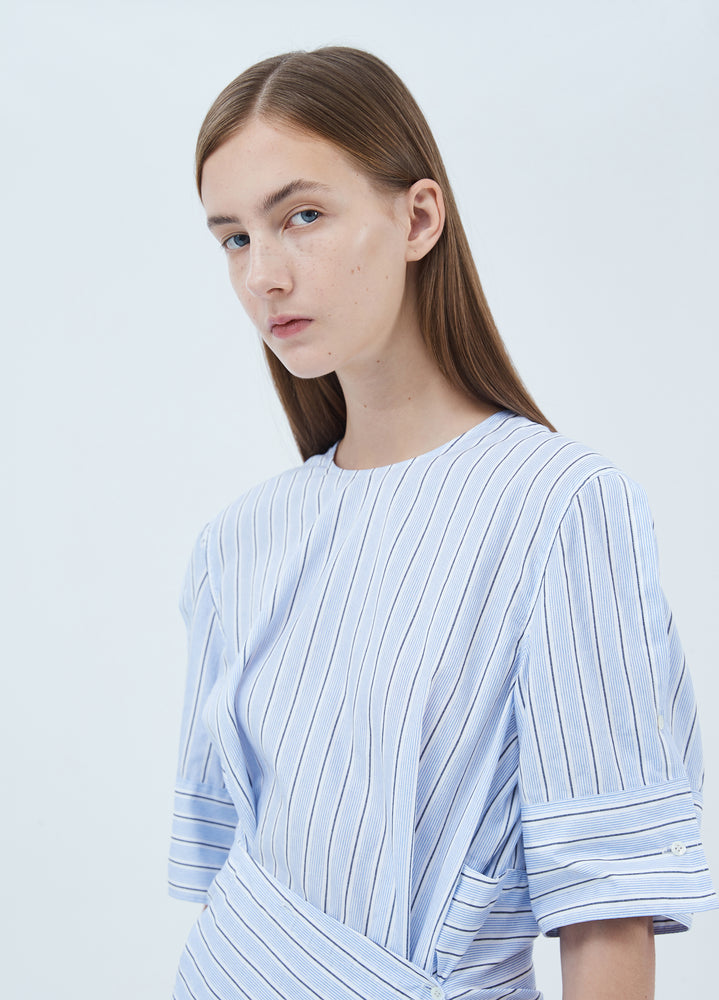 Load image into Gallery viewer, Cotton striped asymmetrical dress