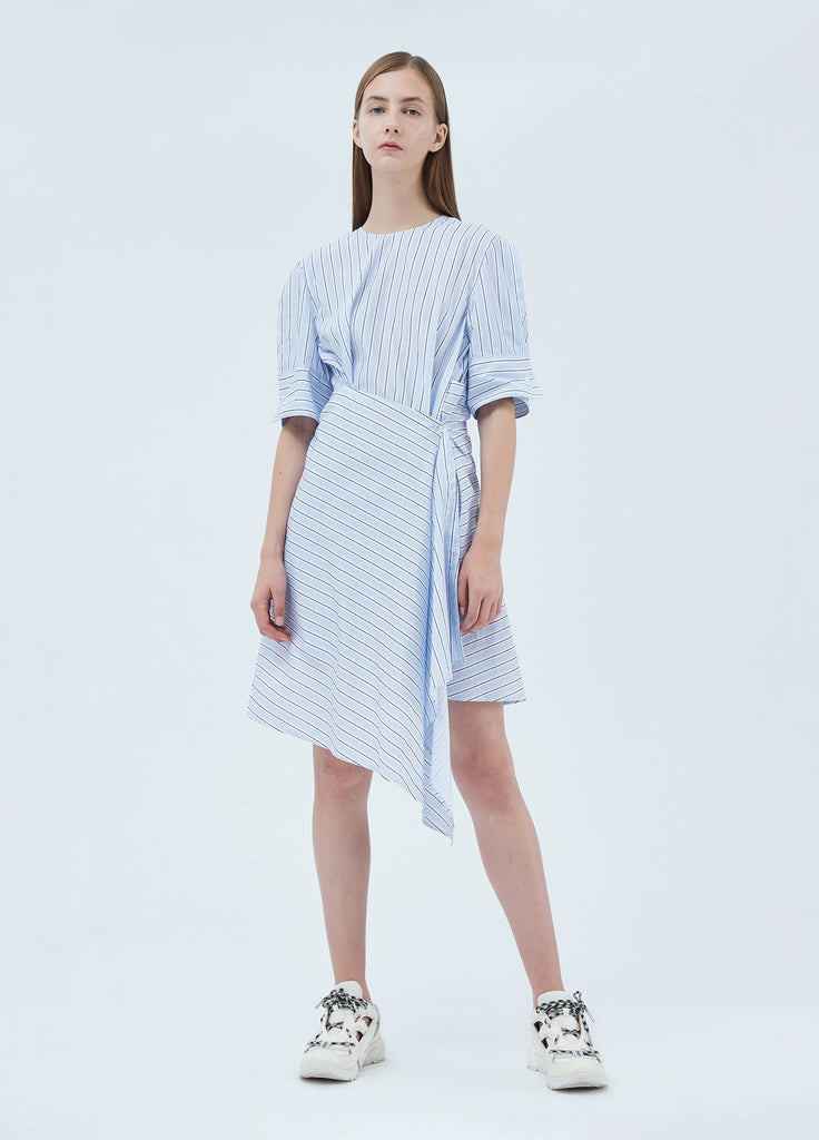 Cotton striped asymmetrical dress