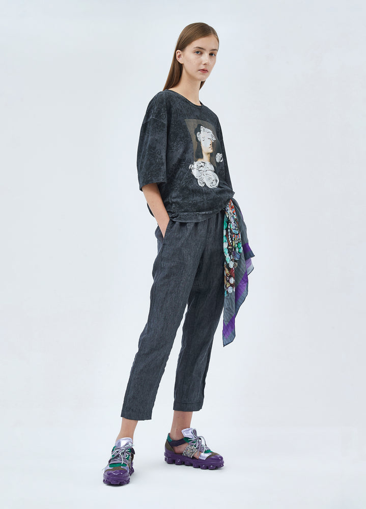 Load image into Gallery viewer, Linen pants with strings on waist