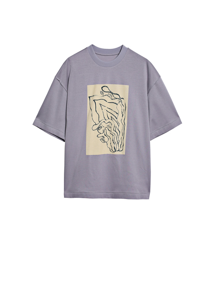 Round neck T-shirt with abstract pattern