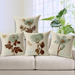 Hand-Painted Floral Pillow Covers
