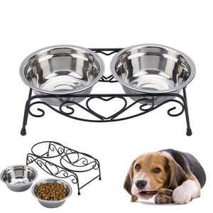 Iron Heart Stainless Steel Pet Bowls and Stand
