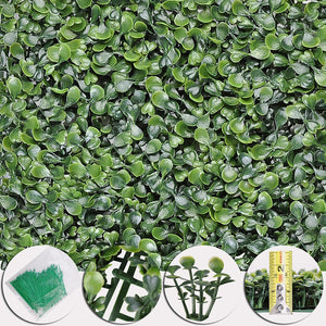 Artificial Boxwood Hedge Garden Privacy Panels (24-Pack) with Cable Ties