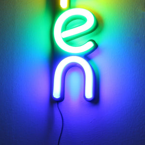 Glowing Rainbow Neon Open Sign (100-240V)