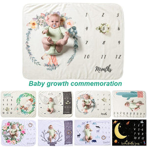 Printed Monthly Baby Growth Photo Blanket