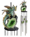Dragon Guarding Emerald Crystal Wind Chime