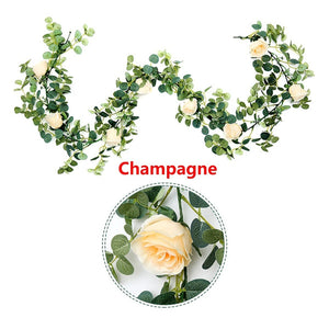 Romantic Faux Eucalyptus and White Roses Decor Garland