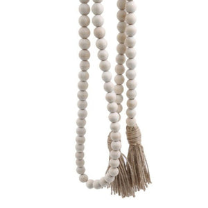 Rustic Wood Bead Garland with Tassels