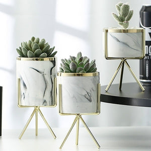 White Marble and Metal Finish Ceramic Planter