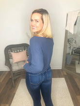 Load image into Gallery viewer, Blue For You Waffle Knit Ruched Front Long Sleeve