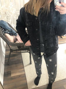 Black Oversized Destroyed Denim Jacket