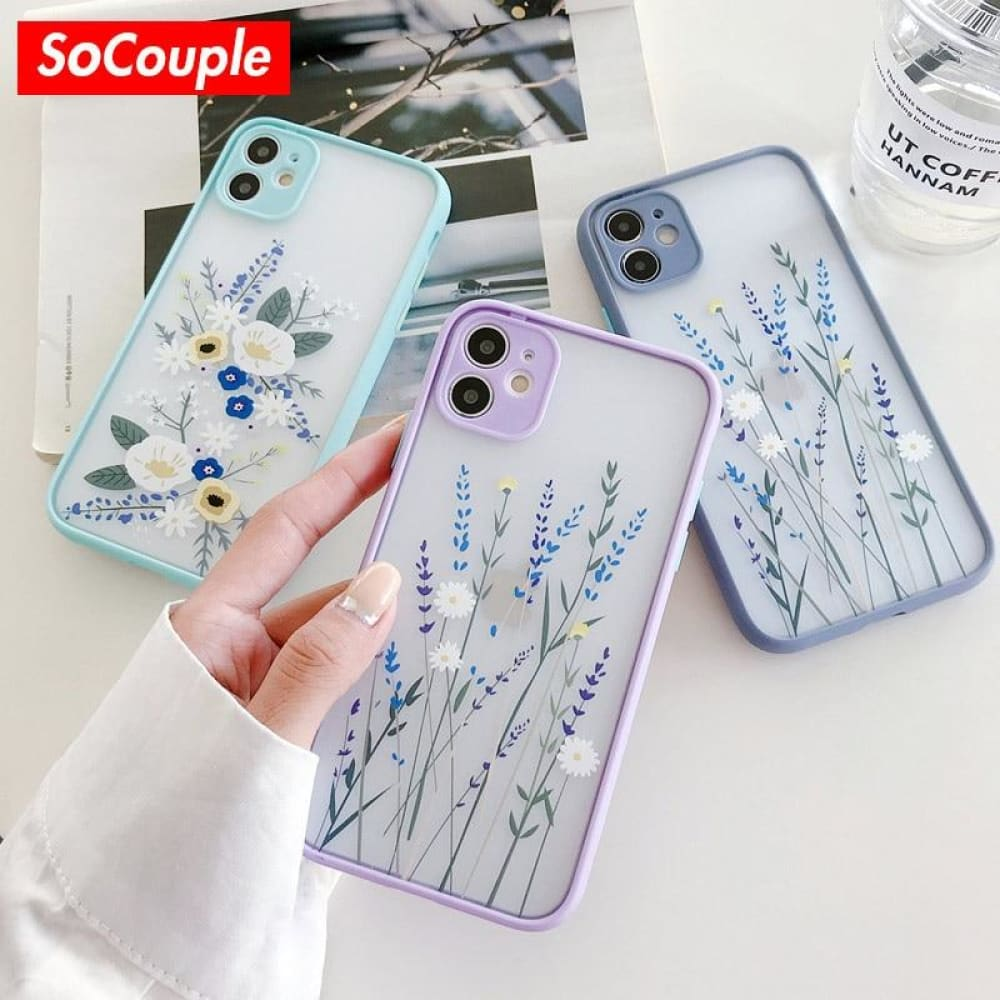 3D Relief Floral Transparent Soft Back Cover - phone cover