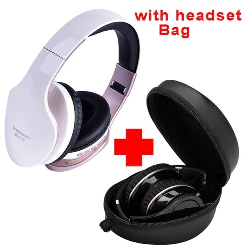 OG-P18 Foldable Wireless 3D Bass HeadPhones - White-With Bag