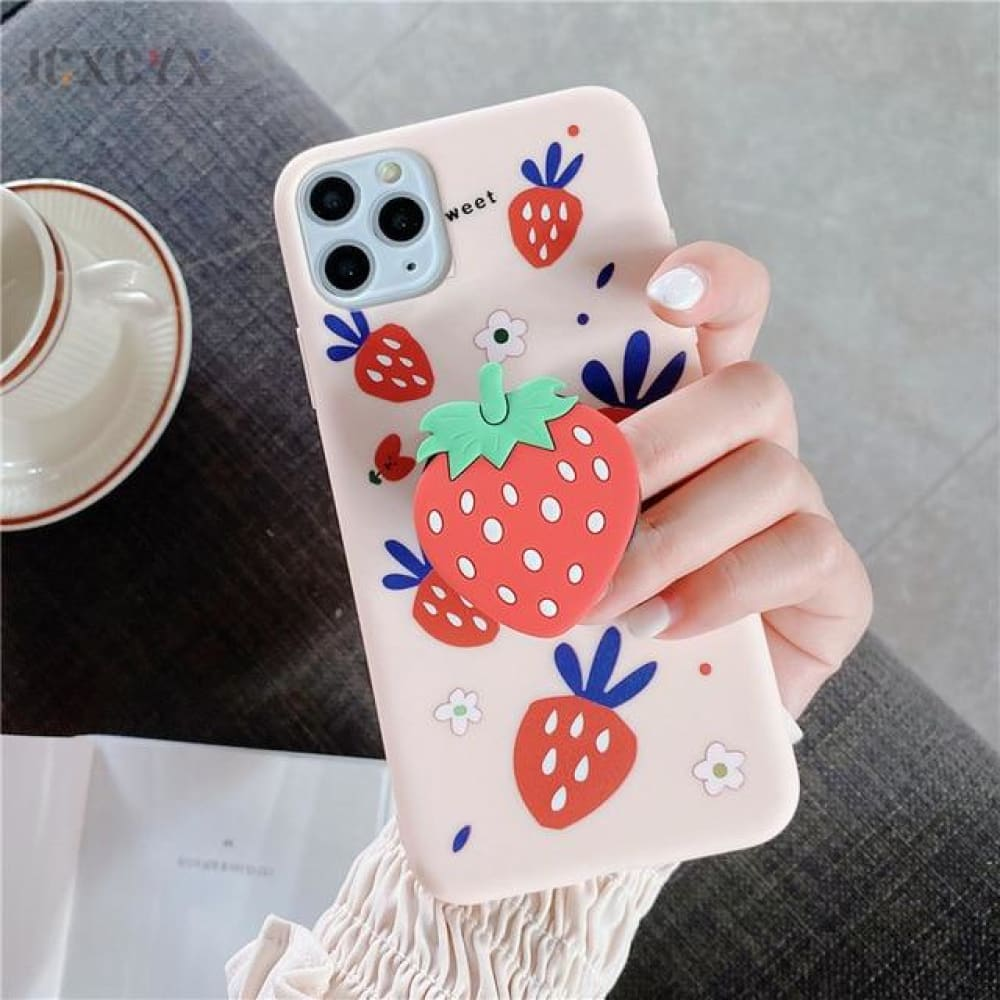 Silicone Luxury 3D Phone Case With Holder - for iphone X / B